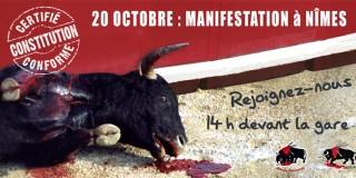 Trois actions anti-corrida le 20 octobre à Nimes, Toulouse et Paris