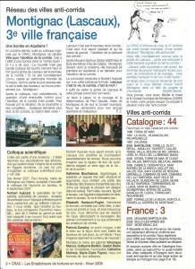 Montignac se déclare ville anticorrida, revue du CRAC, hiver 2008