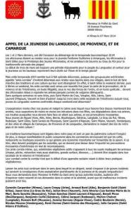 Appel de l'a jeunesse du Languedoc, de Provence, et de Camargue