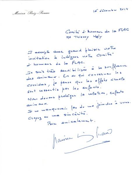 Lettre de Marina Picasso à la FLAC