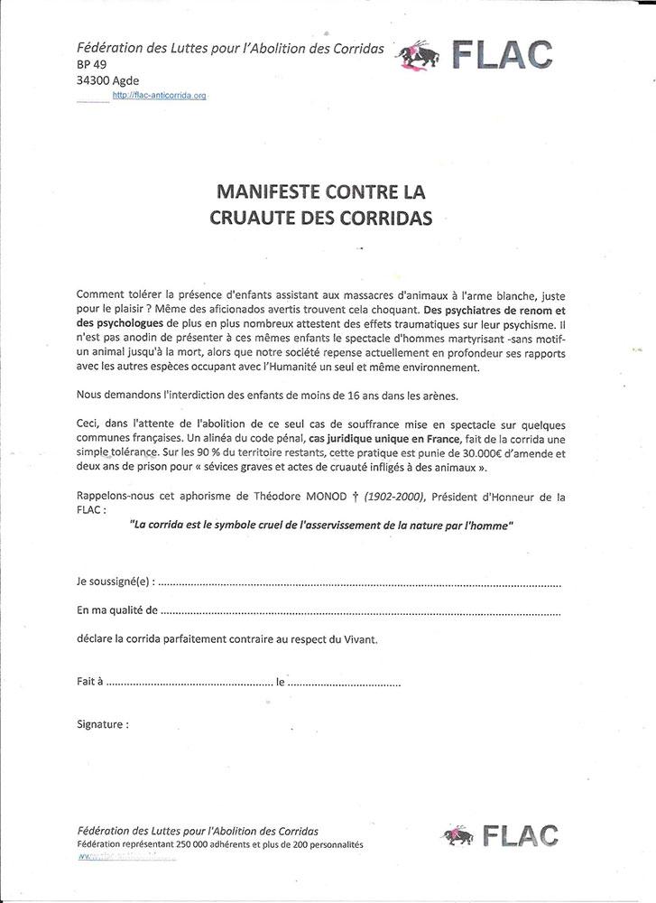 Télécharger le manifeste à signer, pour l'interdiction des enfants pendant les corridas
