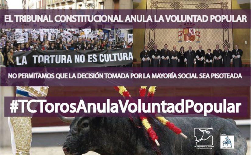 Communiqué de La Tortura No Es Cultura au sujet de l'annulation de l'abolition de la corrida en Catalogne